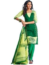 Green Printed Unstitched Dress Material - Ethnic Vibe