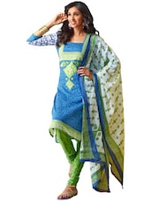 Blue & Green Unstitched Dress Material - Ethnic Vibe