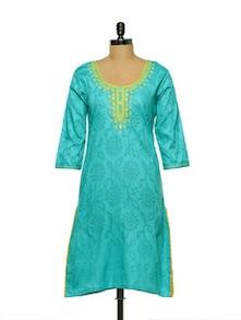 Turquoise Mirror & Thread Work Kurti - Lyla