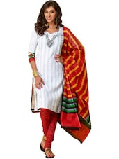 Printed White Unstitched Dress Material - Ethnic Vibe