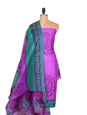 Purple Cotton Unstitched Dress Material - Ethnic Vibe