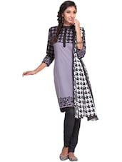 Lavender Printed Unstitched Dress Material - Ethnic Vibe