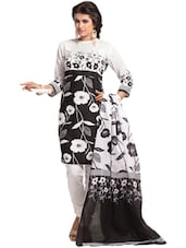 Black & White Floral Print Dress Material - Ethnic Vibe