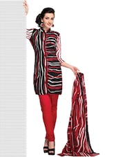 Striped Cotton Unstitched Dress Material - Ethnic Vibe
