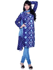 Purple &Blue Bandhani Print Unstitched Dress Material - Ethnic Vibe