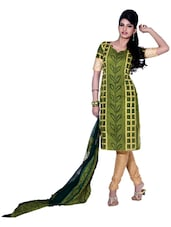 Green &Black Bandhani Print Unstitched Dress Material - Ethnic Vibe