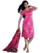 Pretty Pink Bandhani Print Unstitched Dress Material - Ethnic Vibe
