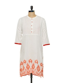 White & Orange Embroidered Kurti - Lyla
