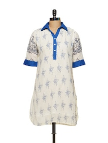 White And Blue Printed Kurti - Lyla