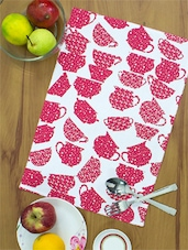 White Base Fuchsia Pink Jar Print Cotton Place Mats  (set Of 4) - Home Colors