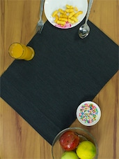 Bold Black Ribbed Placemats Made In Cotton (set Of 4) - Home Colors