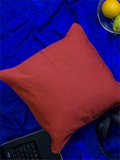 Set Of 2 Maroon Cotton Cushion Covers - Home Colors