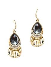 Grey & Gold Drop Earrings - Golden Peacock