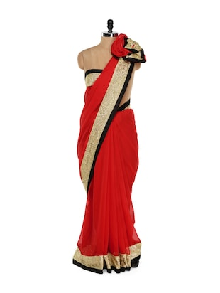 Scarlet Red Saree with Gold Border