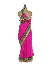 Pink Saree with Gold Border