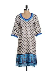 Printed Beige Kurta With Lace Trims - Tissu