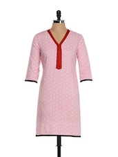 Dotted Baby Pink Cotton Kurti - Tissu