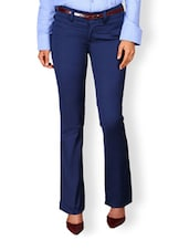 Blue Straight Fit Trousers - Kaaryah