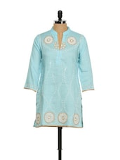 Celeste Blue Dori Embroidered Kurta - Vedanta