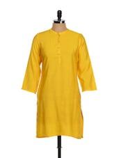 Amber Yellow Plain Silk Kurta - Vedanta