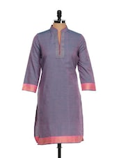 Embroidered Pink-grey Long Kurta - Vedanta