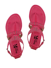 Pink Embellished Double Strap Sandals - AMICA SLEXIA