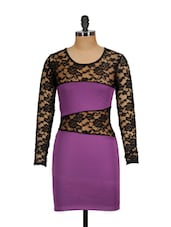 Floral Lace Purple Bodycon Dress - Ruby