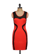 Red Dress With Mesh Inserts - Ruby