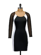 Monochrome Poly Knit Sheath Dress - Ruby