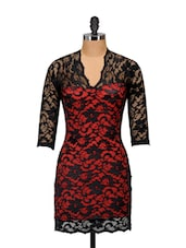 Sizzling Lace Dress - Ruby