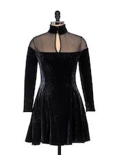 Black Velvet Mesh Dress - Ruby