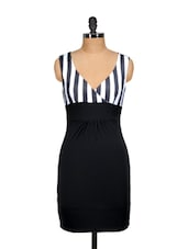 Striped Bodycon Monochrome Dress - Ruby