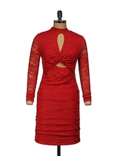 Front knot Red Lace Dress