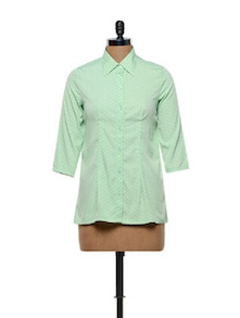 Mint Green Polyester Crepe Shirt - Meira