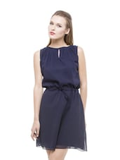 Navy Blue Flirty Georgette Dress - Being Fab