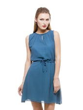 Aqua Blue Flirty Georgette Dress - Being Fab