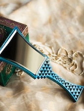 Blue Hand Painted Wooden Mirror - ExclusiveLane