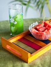 Multi-coloured Wooden Tray - ExclusiveLane