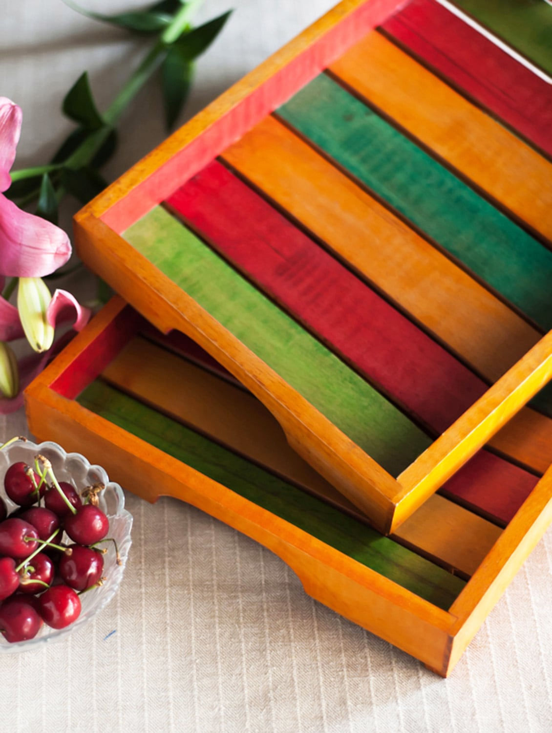 Multi-coloured Wooden Tray (set Of 2) - ExclusiveLane