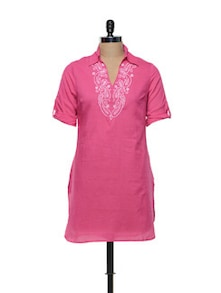 Fuchsia Pink Cotton Kurti With Thread Work - Meira