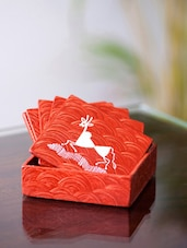 Warli Hand Painted Orange Coaster Stand And Set(6) - ExclusiveLane