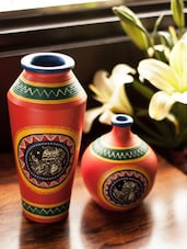 Elegant And Attractive, This Vase Set  From The House Of Exclusive Lane Is A Statement Piece. This Handcrafted Terracotta Vase - ExclusiveLane