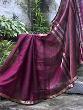 Maroon Cotton Saree - Cotton Koleksi