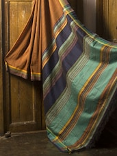 Striped Resham Silk Saree - Cotton Koleksi