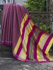 Magenta And Green Striped Raw Jute Silk Saree - Cotton Koleksi