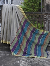 Steel Grey Resham Silk Saree With Striped Aanchal - Cotton Koleksi