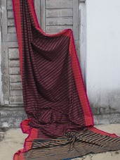 Striped Cotton Resham Saree - Cotton Koleksi