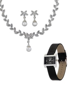 Pearl and Diamond Necklace Set (Free Watch) - Oleva
