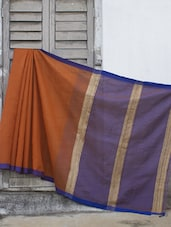 Orange And Blue Resham Saree - Cotton Koleksi