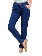 Royal Blue Loose Fit Denims With Drawstrings - Yepme